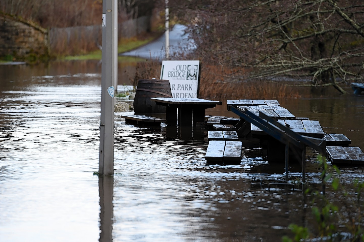 Flooding in Aviemore. The Old Bridge Inn. Picture by Gordon Lennox 06/12/2015