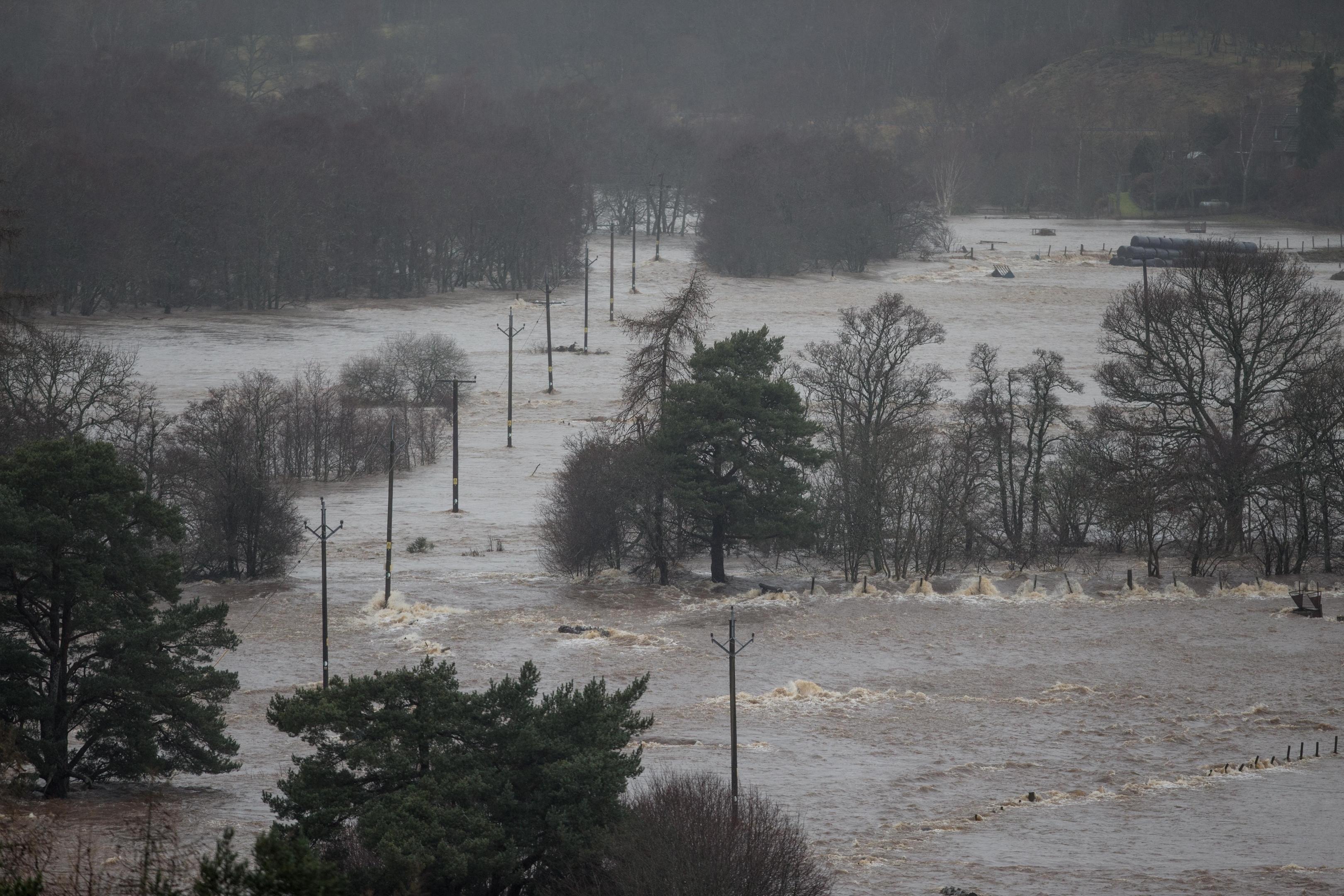 Severe flooding along Royal Deeside