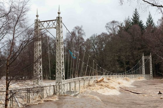 The Cambus O'May footbridge over the River Dee was severely damaged by Storm Frank