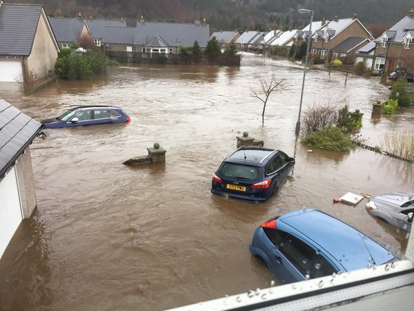 A picture of flooding in Ballater