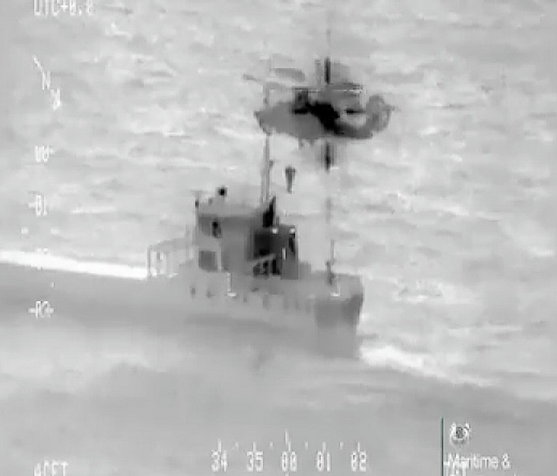 Videograb image of the rescue issued by the Maritime and Coastguard Agency