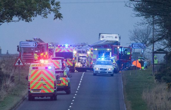 The scene of the crash on the A933
