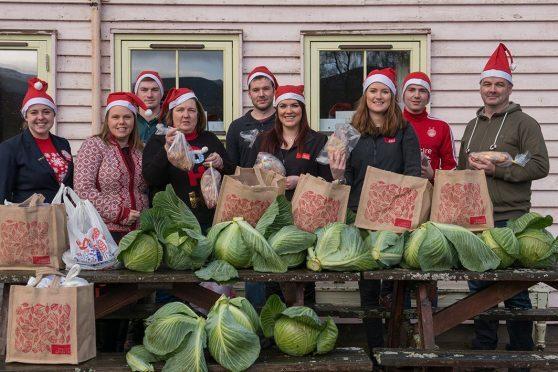 The Christmas hampers being made up in Braemar. Credit: Steven Rennie.