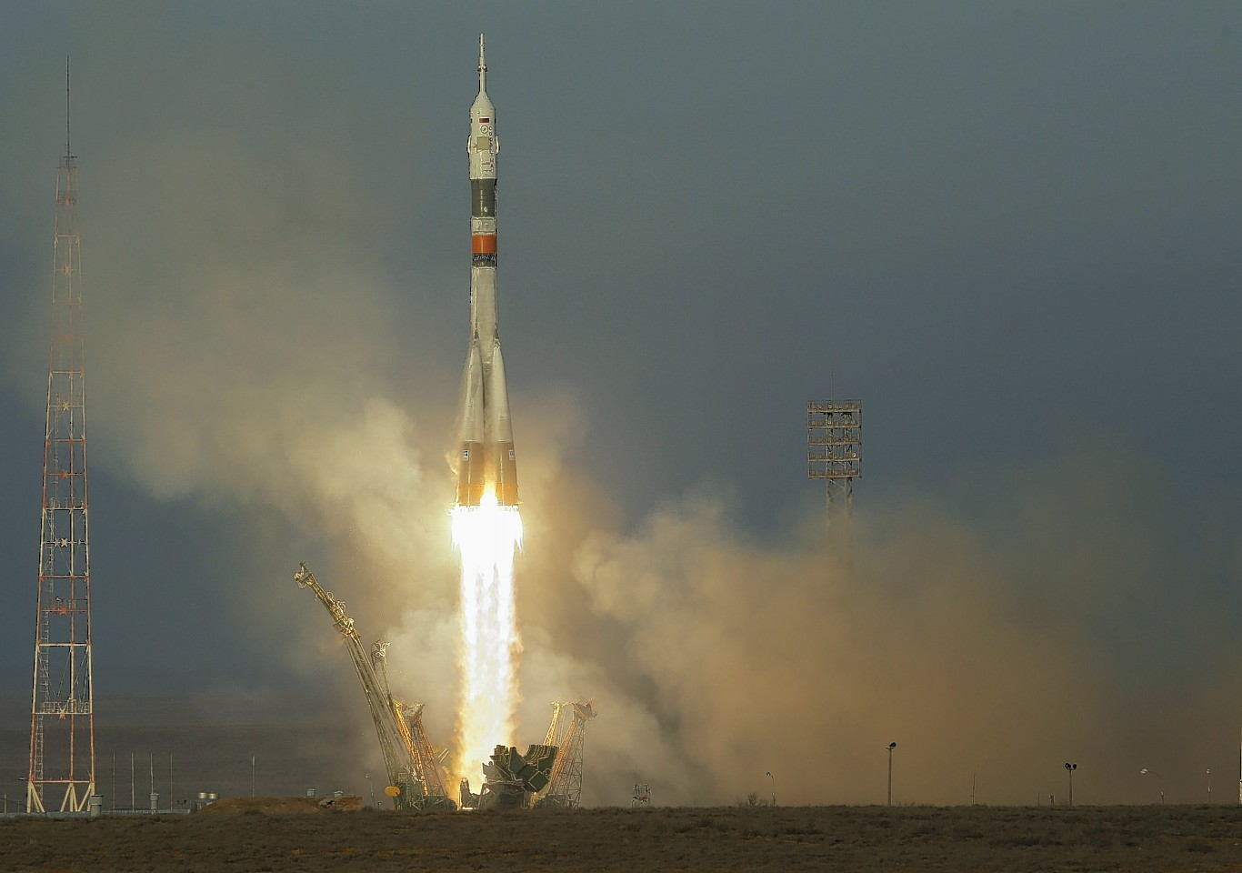 The Soyuz-FG rocket booster with Soyuz TMA-19M space ship carrying the crew to the International Space Station