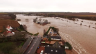 Drone footage shows flooding over Markirk, Aberdeenshire