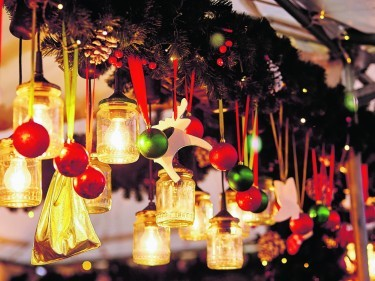 Decorations on a Parisian Christmas market
