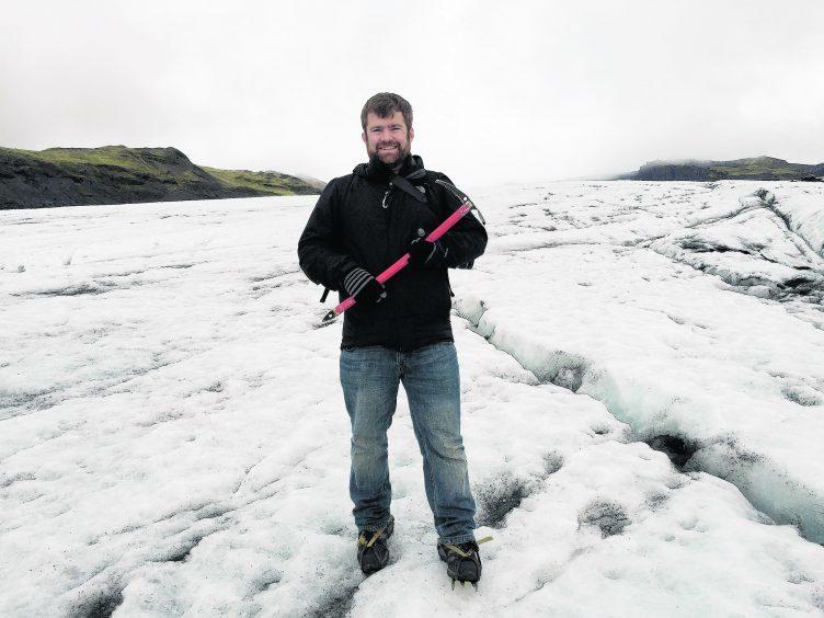 On the Solheimajokull glacier