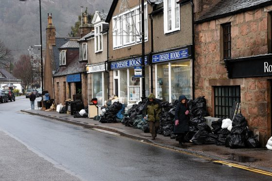 Aberdeenshire Council chief executive Jim Savege visited Ballater to see the huge clean-up