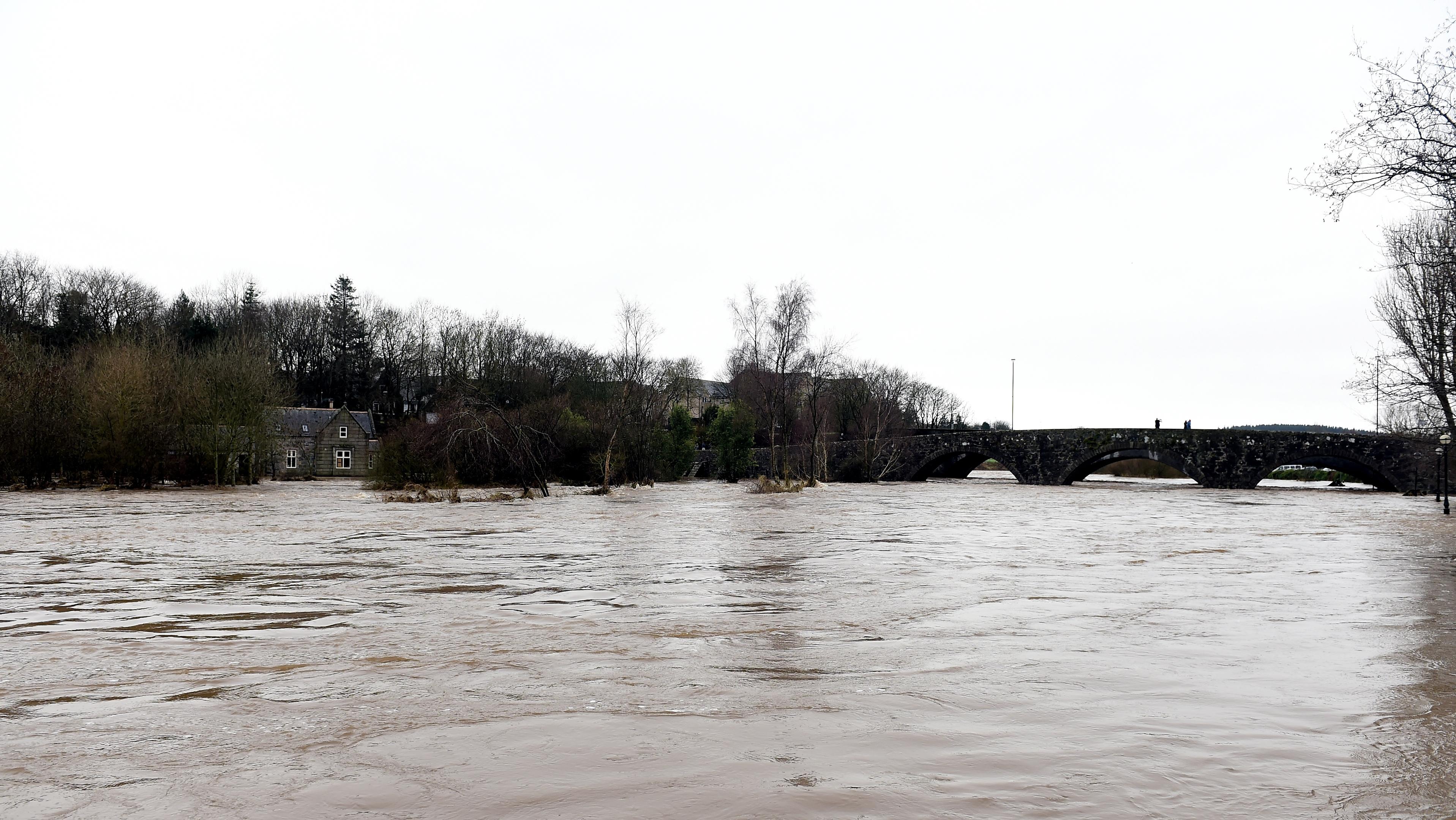 The River Ythan has burst it's banks at Ellon.