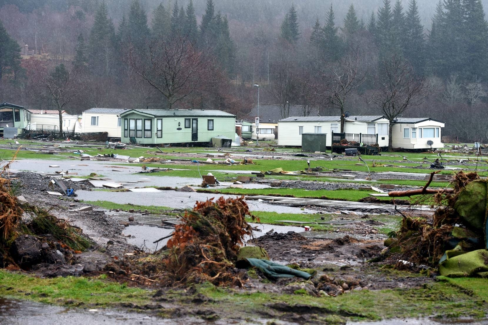 Flooding in Ballater. The caravan park. Picture by Jim Irvine 7-1-16