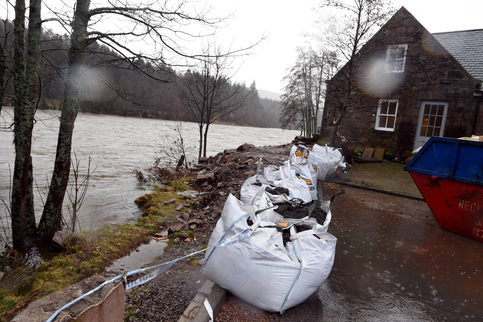 Flooding in Ballater. The high level river Dee. Picture by Jim Irvine 7-1-16