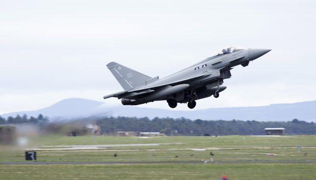 Typhoon Jet taking off at RAF Lossiemouth.