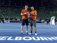 Jamie Murray, left, and Bruno Soares are crowned men's doubles champions at the Australian Open.