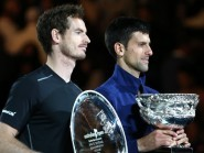 Novak Djokovic, right, and Andy Murray with their trophies (AP)