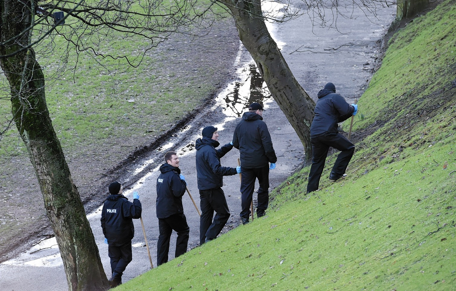 Police officers search Union Terrace Gardens