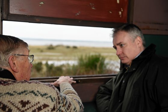 Richard Lochhead, MSP at the bird hide on Findhorn Bay