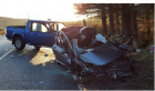 Two people were taken to hospital following the crash on the A96 at Bainshole.