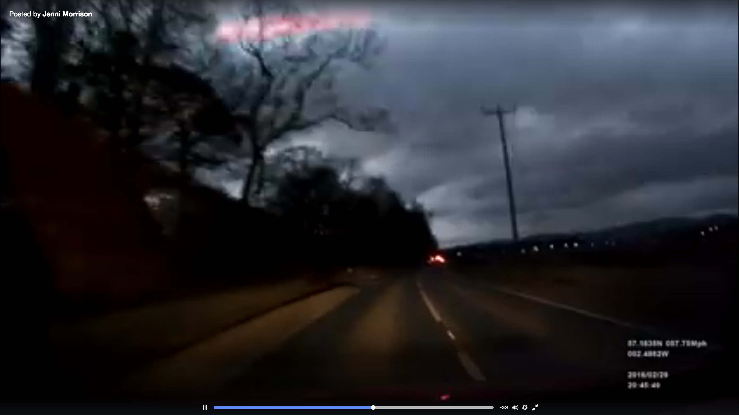 Picture of moment white light illuminated Scottish skies. From video by Jenni Morrison posted to Facebook