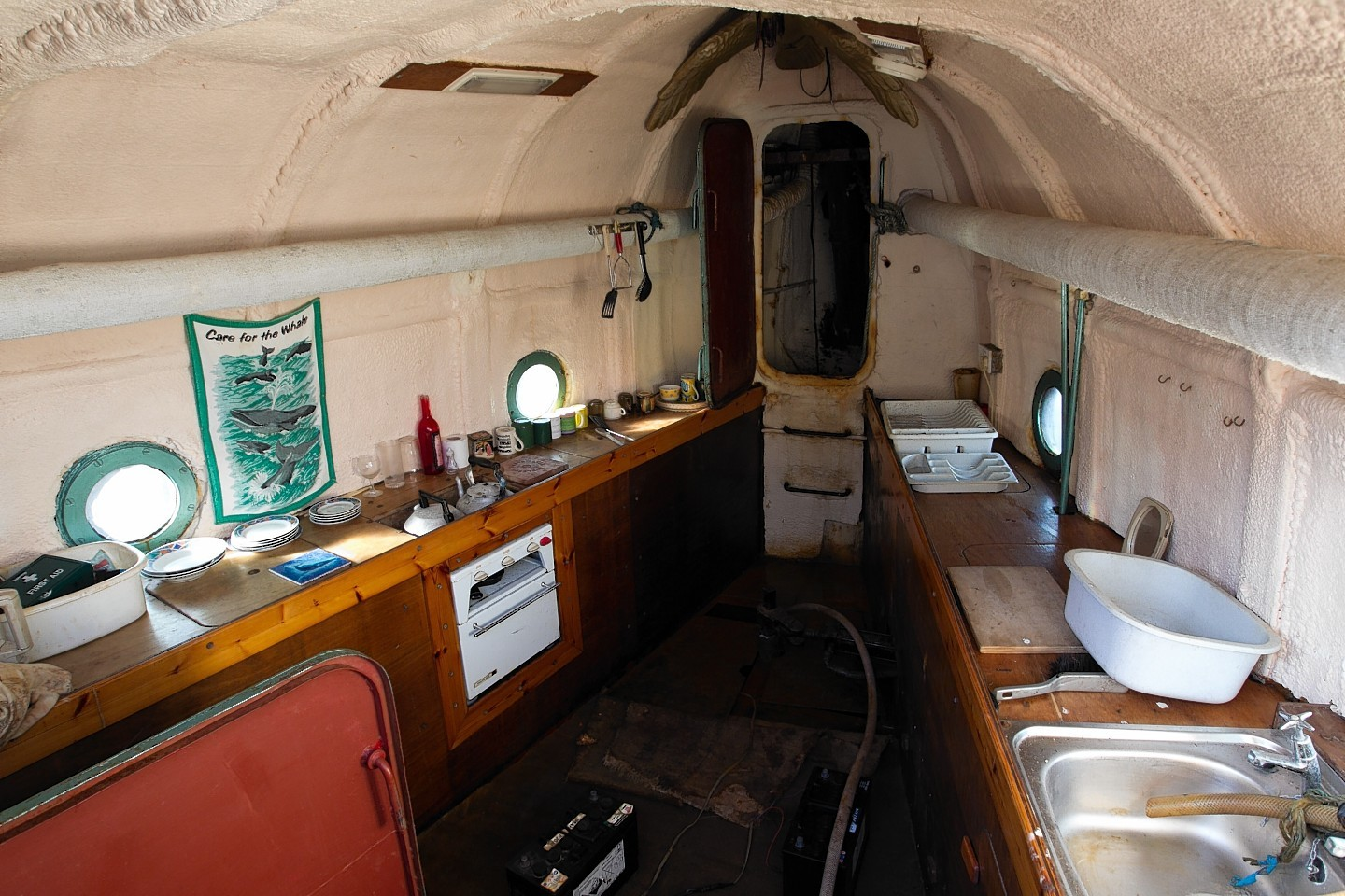 Inside the whale boat