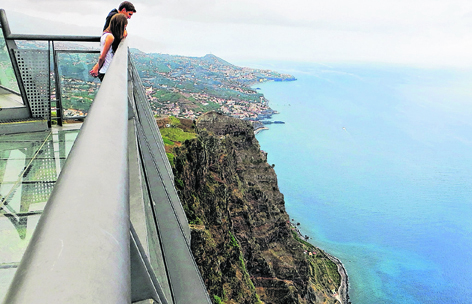 Sensational views from the glass floor viewing balcony at Cabo Girão on Madeira