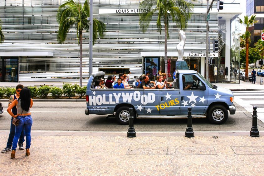 Hollywood Tours bus in Beverly Hills