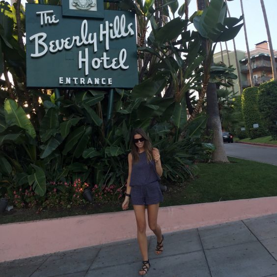 Lisa outside The Beverly Hills Hotel