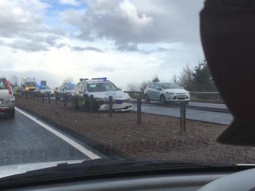 Picture submitted by reader showing the police car on the A9