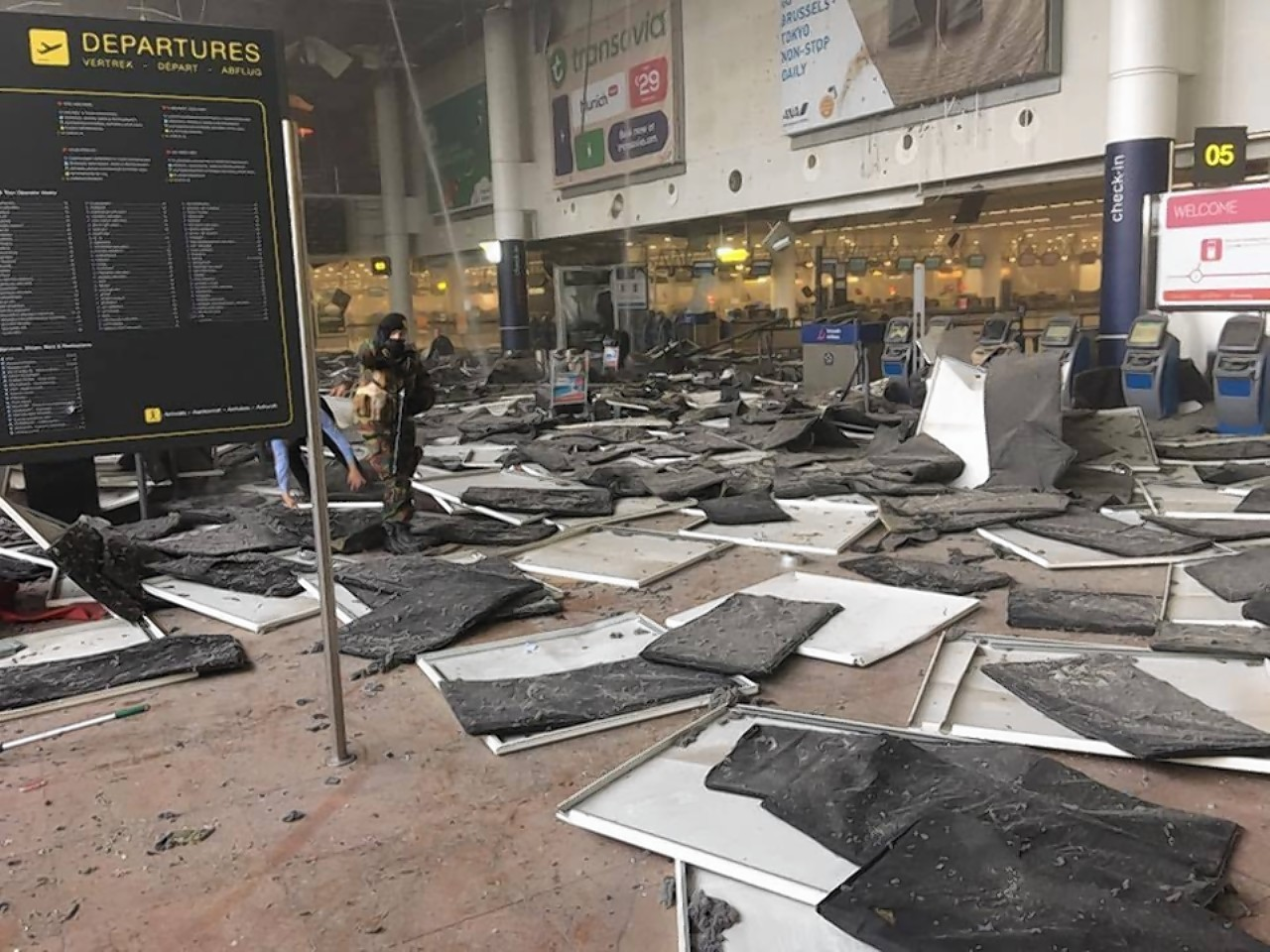 Aftermath of the explosions in Brussels Airport