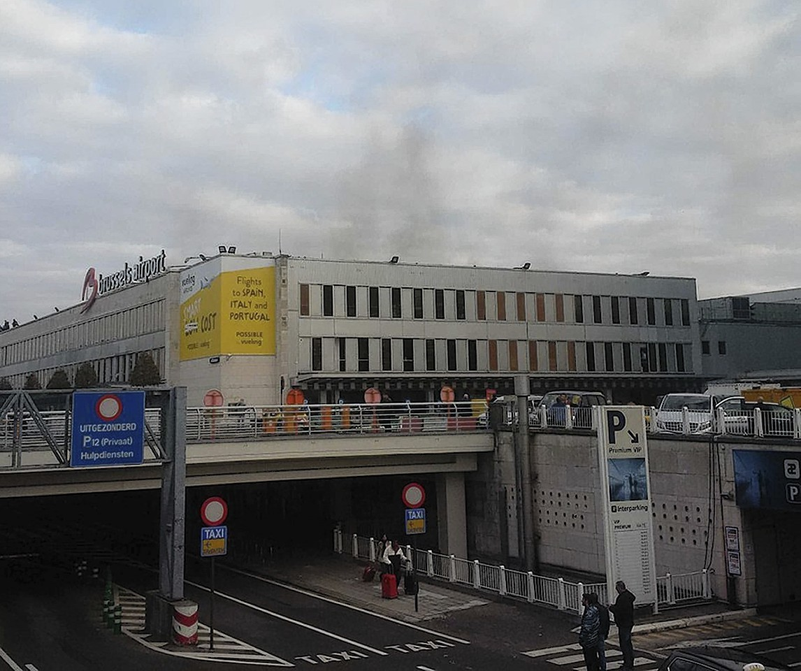 The first plume of smoke seen over Brussels Airport