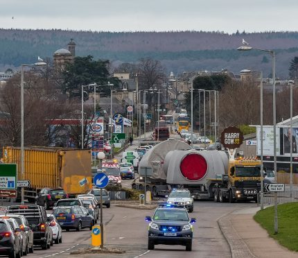 A turbine was moved along the A96 last month, causing major delays