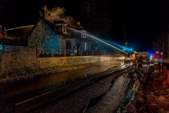 The blaze at the cottage near Mossat last night. Credit: Brian Smith/Jasperimage.