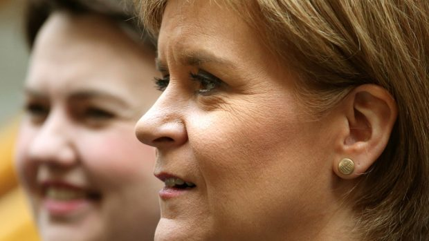 Nicola Sturgeon Ruth Davidson, left, are travelling to opposite ends of the country