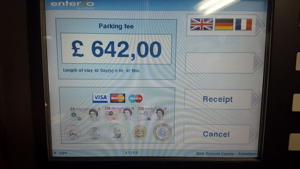 Kerrie Andrews saw this when she put her chip into the machine of the Bon Accord shopping centre