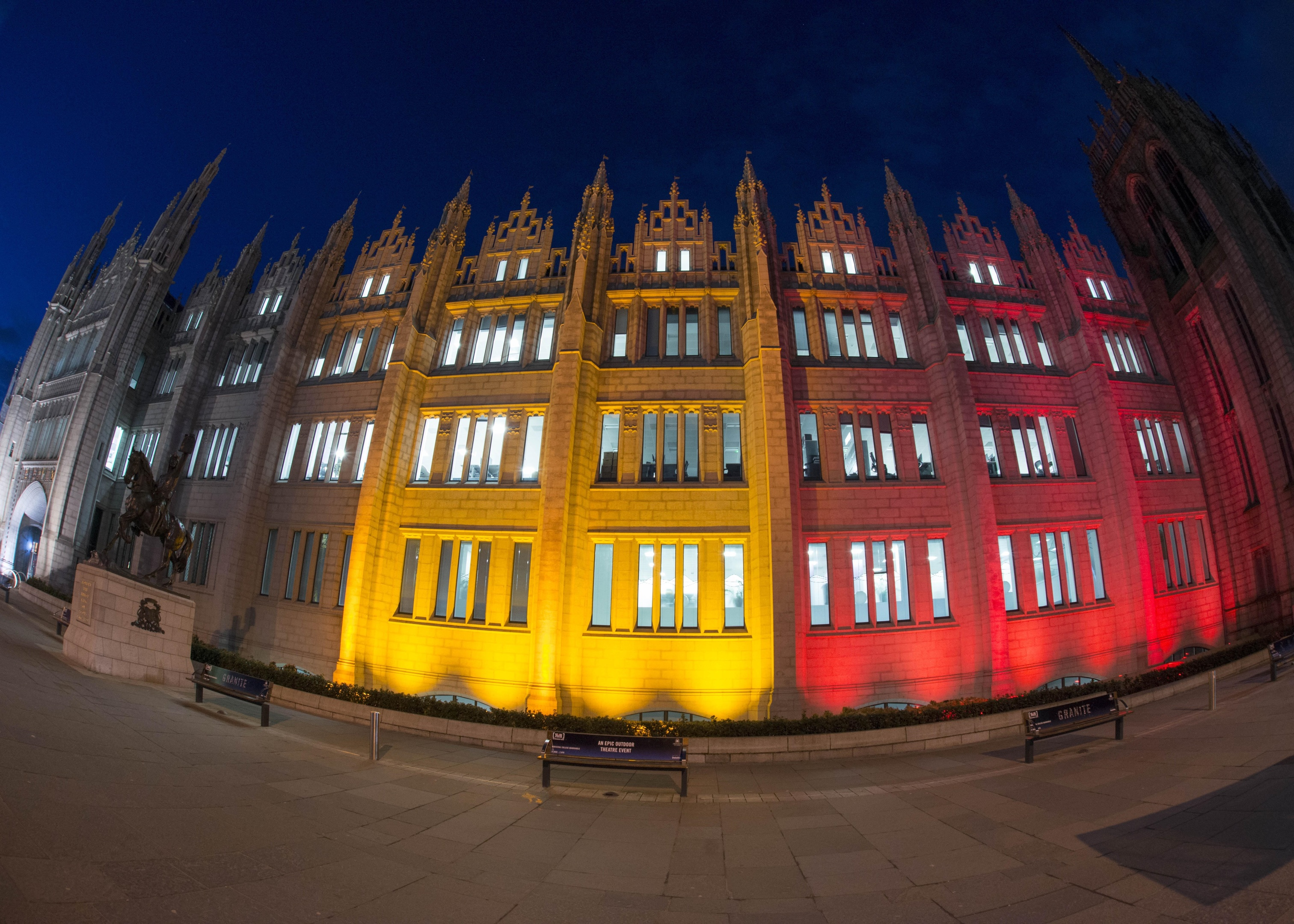 23/03/16 Marischal lit up fwith colours of Belgium flag