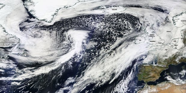 The 2,000-mile Atlantic tempest hitting on Saturday is shown nearing Britain