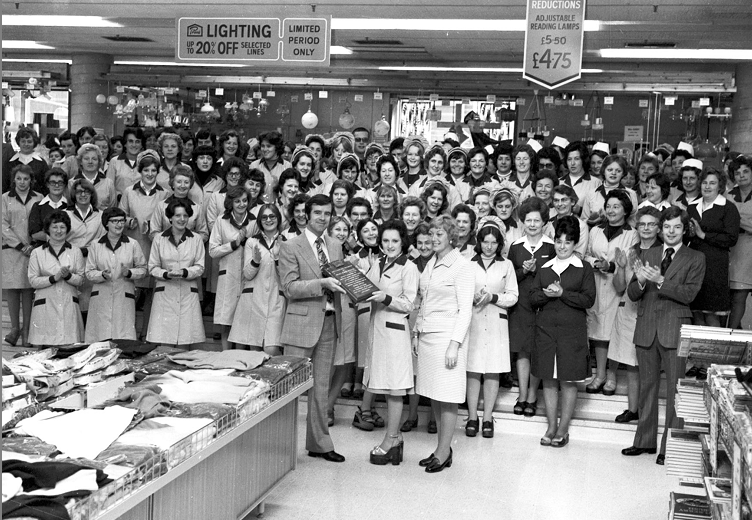 The staff of Aberdeen's British Home Stores were presented with a plaque by then manager Mr. J Carragher for their efforts in raising money for Cottage Homes in 1976. The store raised £870 and came third in a national competition to raise money for retired people in the retail trade who couldn't afford their own home.