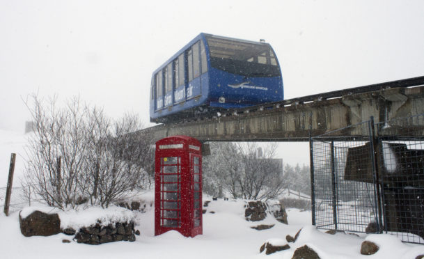 The funicular railway at CairnGorm Mountain in snowy conditions.