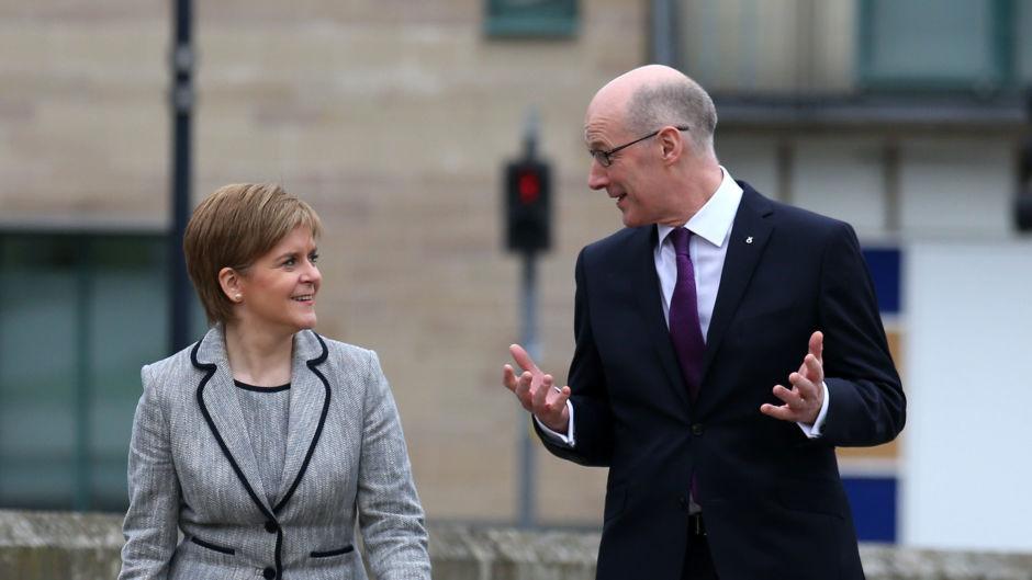 SNP Leader Nicola Sturgeon, with Deputy First Minister John Swinney