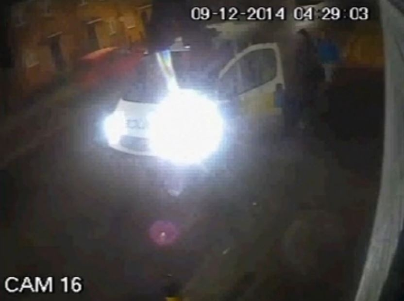 Undated handout still from CCTV issued by Cleveland Police of a police van picking up two teenage girls