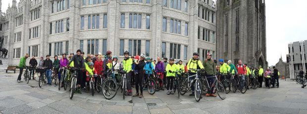 Pedal on Parliament saw scores of cyclists gather outside Marischal College.