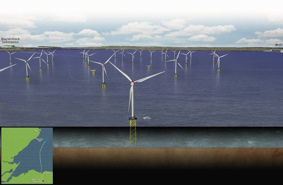 Artists impression of the Beatrice Windfarm