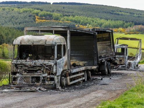 One of the burnt out lorries on the A97