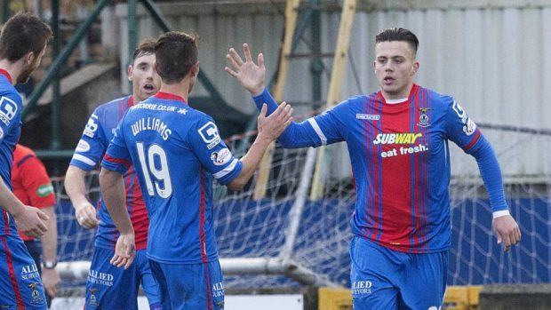 Miles Storey, right, during his first spell at Caley Thistle.