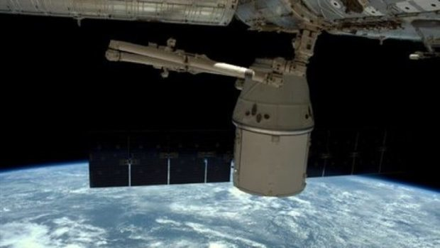 The SpaceX Dragon undocked from the International Space Station is manoeuvred for release (Nasa via AP)