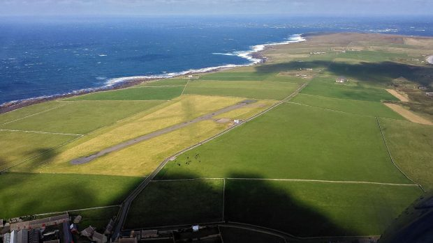 Aerial view of Papa Westray island in the Orkney islands