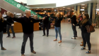 AOC Productions start their flash mob in the Bon Accord Centre