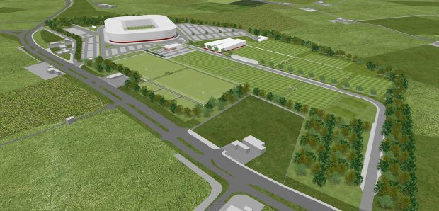 Artist impression of the new stadium planned for Aberdeen FC