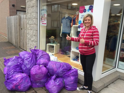 Heather Griffiths who runs groups in Inverurie & Oldmeldrum who's members help collect nearly 100 bags