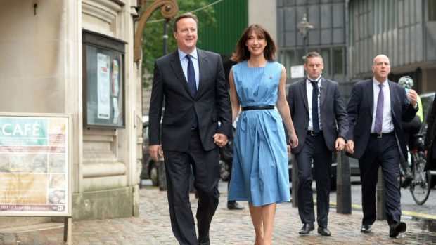 Prime Minister David Cameron and wife Samantha