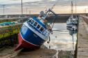 The Pegasus was moored at Burghead Harbour to be painted.